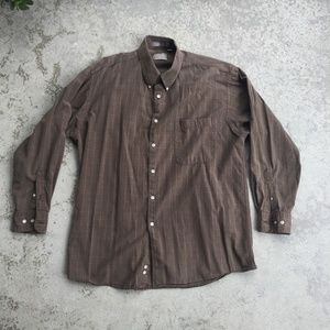 Haggar Brown/Green/White Plaid Shirt